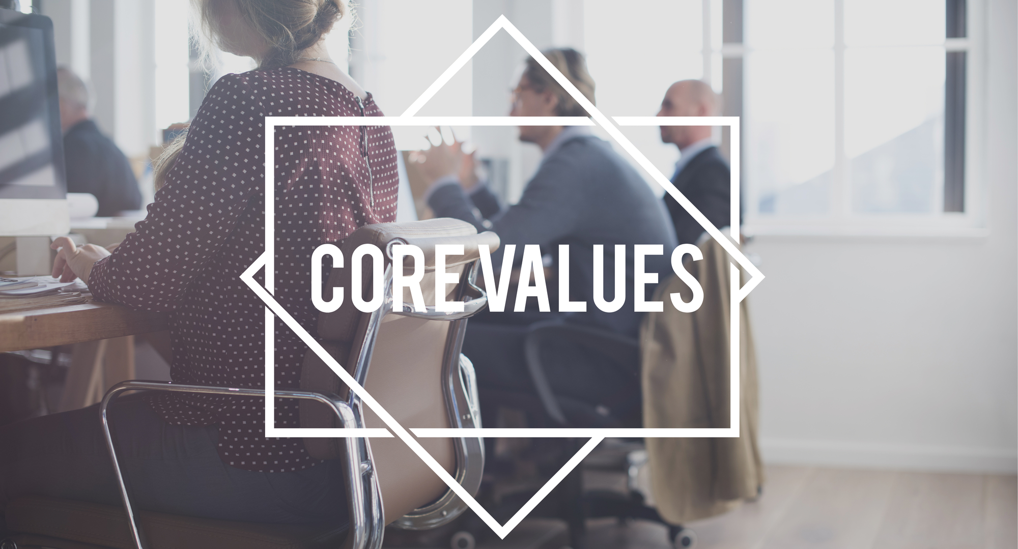 Business team discussing core values
