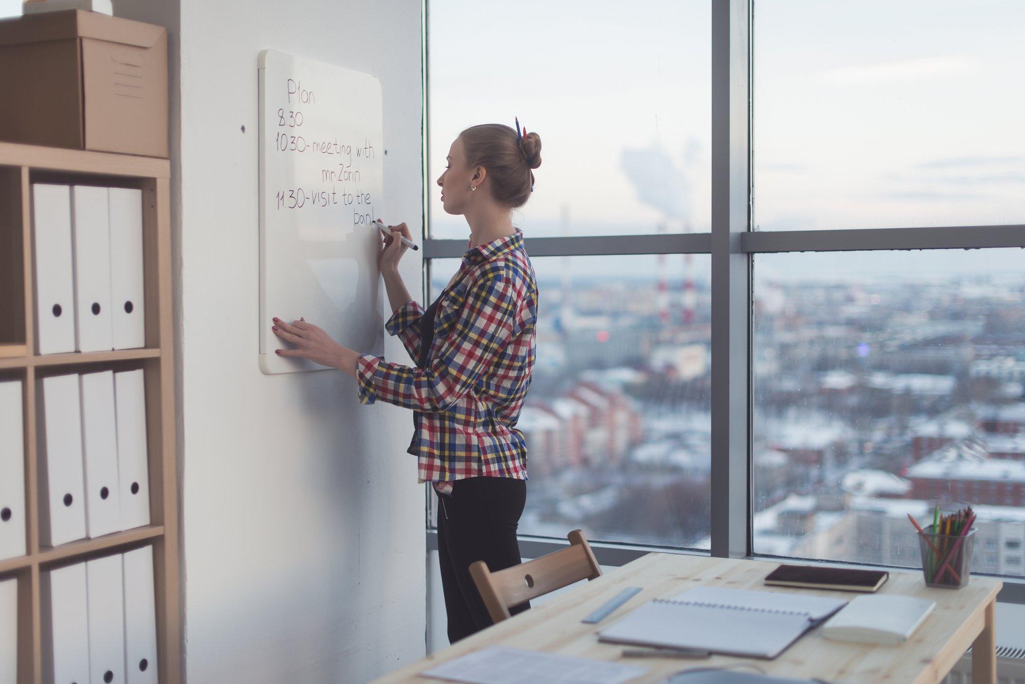 Businesswoman writing day plan