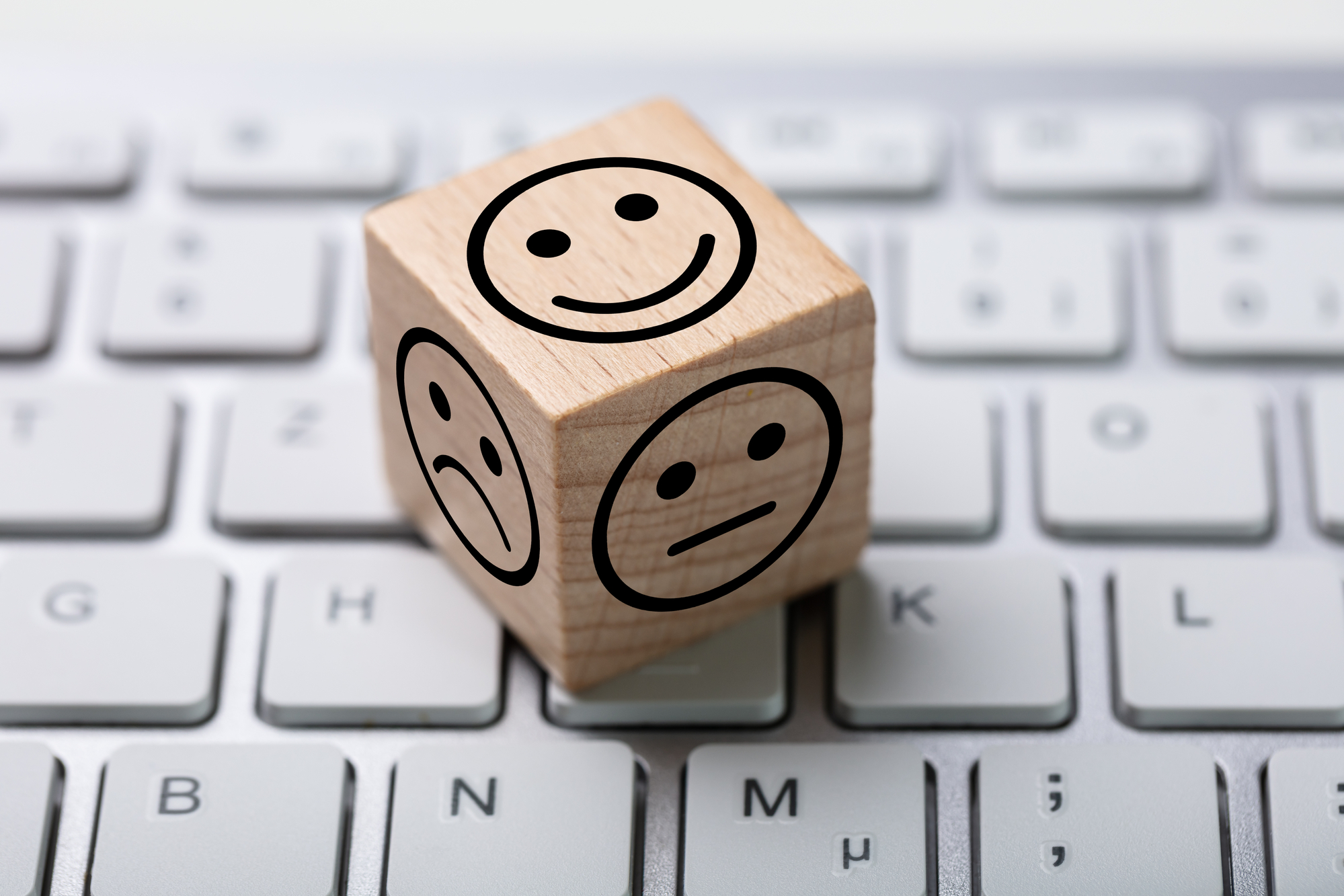Online Service Satisfaction Survey Dice On Computer Keyboard